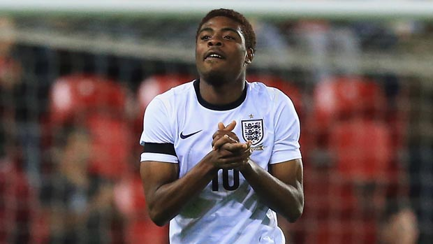 ROTHERHAM, ENGLAND - APRIL 16:  Nathan Oduwa of  England celebrates his goal during the  Under 18 International Friendly match between England U18 and Germany U18 at The New York Stadium on April 16, 2014 in Rotherham, England.  (Photo by Matthew Lewis/Getty Images)