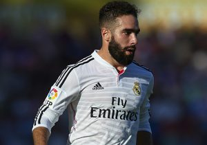 VALENCIA, SPAIN - OCTOBER 18: Daniel Carvajal of Real Madrid runs with the ball during the La Liga match between Levante UD and Real Madrid at Ciutat de Valencia on October 18, 2014 in Valencia, Spain.  (Photo by Manuel Queimadelos Alonso/Getty Images)