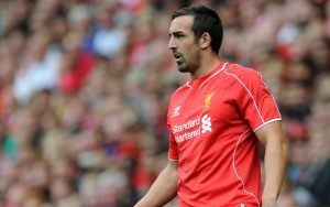 LIVERPOOL, ENGLAND - AUGUST 10:  Jose Enrique of Liverpool during the Pre Season Friendly match between Liverpool and Borussia Dortmund at Anfield on August 10, 2014 in Liverpool, England. (Photo by Clint Hughes/Getty Images)