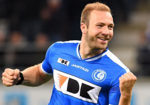 20150430 - GENT, BELGIUM: Gent's Laurent Depoitre celebrate after scoring the 1-0 goal during the Jupiler Pro League match between KAA Gent and RSC Anderlecht, Thursday 30 April 2015 in Gent, on the fifth day of the Play-off 1. BELGA PHOTO LUC CLAESSEN