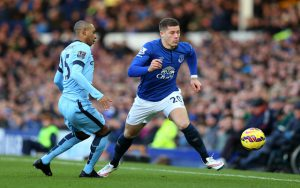 during the Barclays Premier League match between Everton and Manchester City at Goodison Park on January 10, 2015 in Liverpool, England.