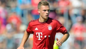 DEGGENDORF, GERMANY - AUGUST 30:  Joshua Kimmich of FC Bayern Muenchen in action during a friendly match between Fanclub Red Power and FC Bayern Muenchen on August 30, 2015 in Deggendorf, Germany.  (Photo by Lennart Preiss/Bongarts/Getty Images)