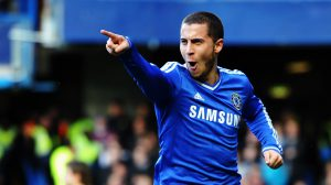 LONDON, ENGLAND - FEBRUARY 08: Eden Hazard of Chelsea celebrates scoring during the Barclays Premier League match between Cheslea and Newcastle United at Stamford Bridge on February 8, 2014 in London, England. (Photo by Mike Hewitt/Getty Images)