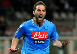 TURIN, ITALY - MARCH 17:  Gonzalo Higuain of SSC Napoli celebrates after scoring the opening goal during the Serie A match between Torino FC and SSC Napoli at Stadio Olimpico di Torino on March 17, 2014 in Turin, Italy.  (Photo by Valerio Pennicino/Getty Images)