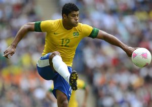 Brazil's Hulk controls the ball during their men's gold medal soccer match against Mexico at the London 2012 Olympic Games