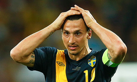 Sweden's Ibrahimovic reacts during game against Ukraine