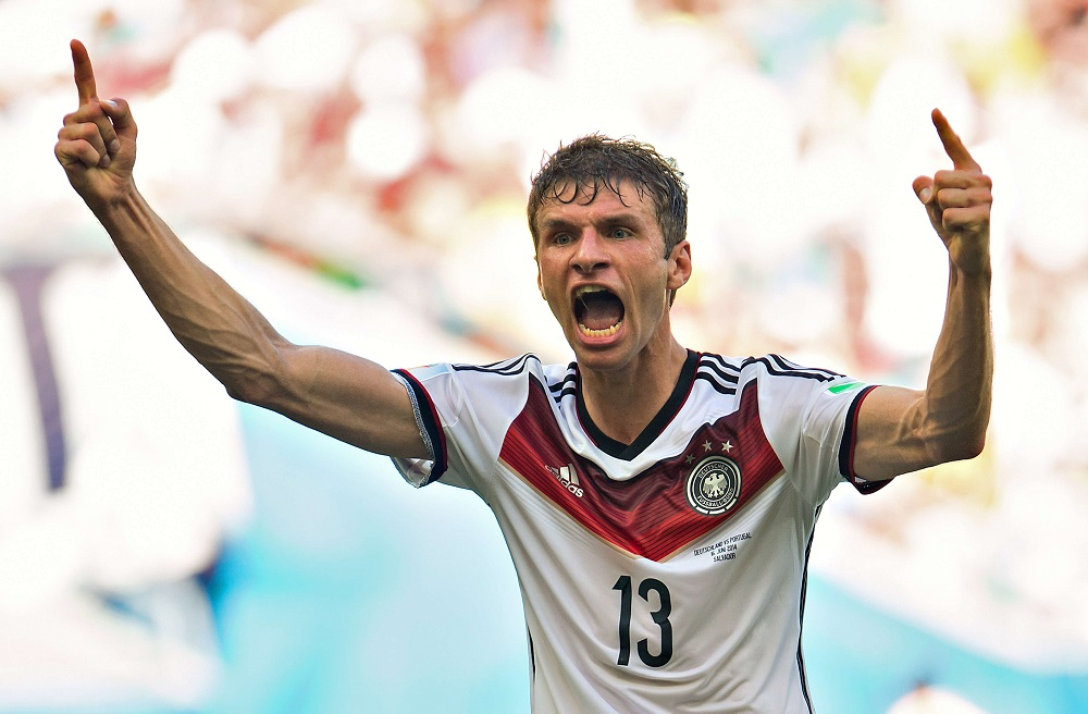 Germany's THOMAS MULLER celebrates his second goal (third for Germany) during the group G 2014 FIFA World Cup soccer match between Germany and Portugal, in Arena Fonte Nova Stadium in Salvador, Brazil, on June 16, 2014. Photo by Jorge Martinez/MEXSPORT/Fotoarena/Sipa USA/sipausa.sipausa_sipausa_13722098/*** France Only ***/1406161905