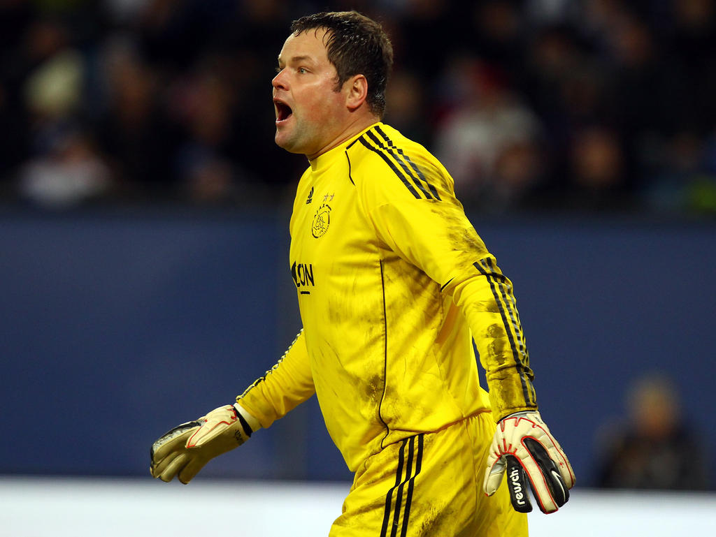HAMBURG, GERMANY - JANUARY 08: Jeroen Verhoeven, goalkeeper of Amsterdam screams during the friendly match between Hamburger SV and Ajax Amsterdam at Imtech Arena on January, 2011 in Hamburg, Germany. (Photo by Martin Rose/Bongarts/GettyImages).