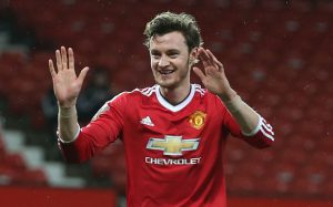 MANCHESTER, ENGLAND - FEBRUARY 08:  Will Keane of Manchester United U21s (R) celebrates scoring their second goal during the U21 Premier League match between Manchester United U21s and Norwich City U21s at Old Trafford on February 8, 2016 in Manchester, England.  (Photo by Matthew Peters/Man Utd via Getty Images)