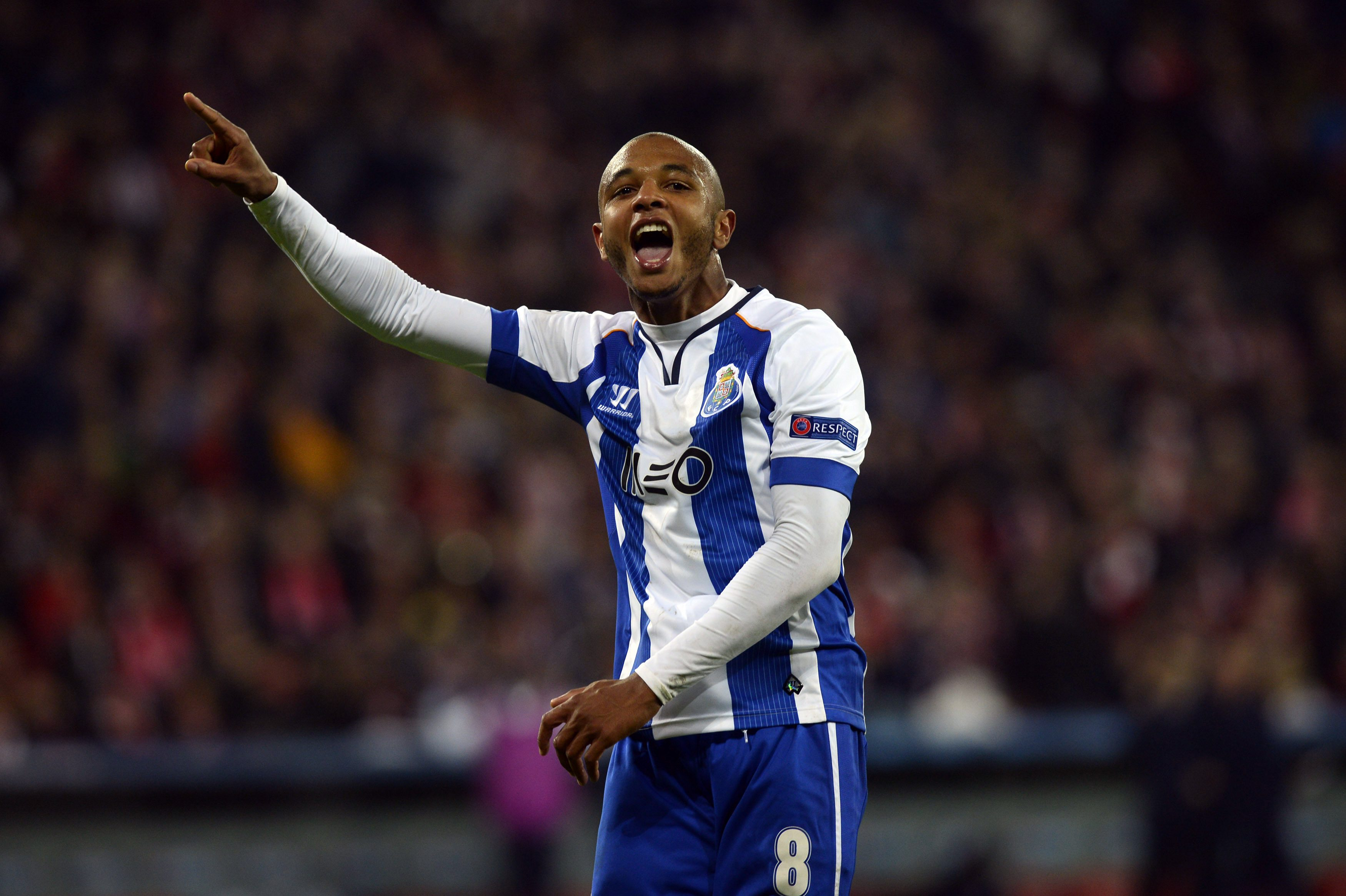 Porto's Yacine Brahimi celebrates a goal during their Champions League Group H soccer match against Athletic Bilbao at San Mames stadium in Bilbao November 5, 2014. REUTERS/Vincent West (SPAIN - Tags: SPORT SOCCER)
