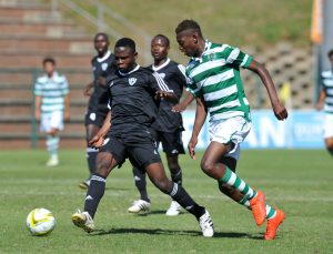Kitenge Olivier of TP Mazembe challenged by Rafael Leao of Sporting during the 2016 Durban U19 International match between TP Mazembe and Sporting at King Zwelithini Stadium, Umlazi South Africa on 06 August 2016 ©Muzi Ntombela/BackpagePix