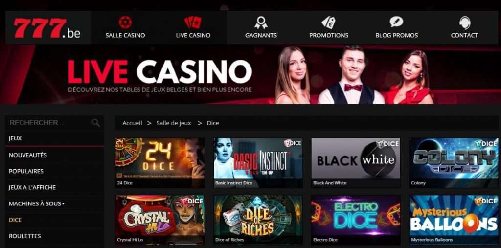 offre de jeux proposée par Casino777