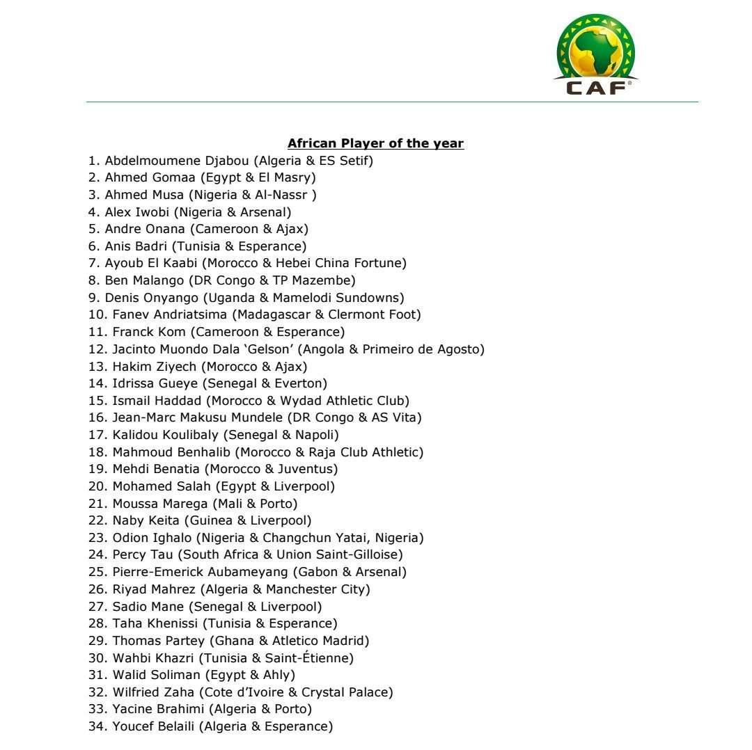 CAF Awards : les nominés sont connus