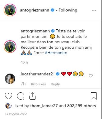 """Griezmann """"triste"""" pour Lucas Hernandez"""
