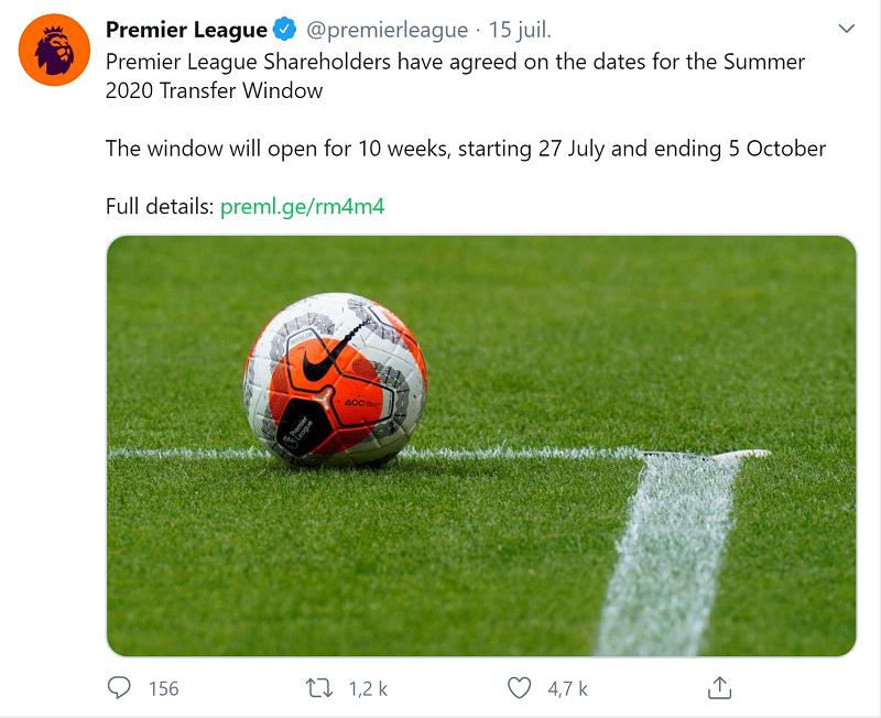 Les dates du mercato de Premier League en 2020 ont été dévoilées
